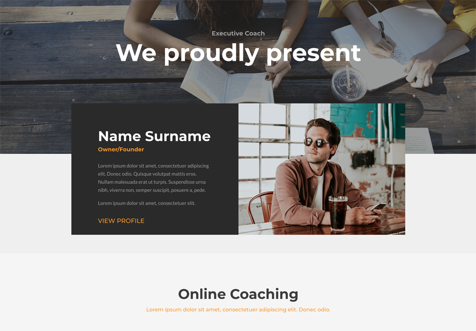 Coach - WordPress website design services